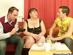two dudes bang corpulent aged bitch