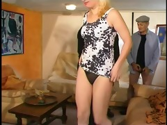 young babe fucked by threesome older fellows -
