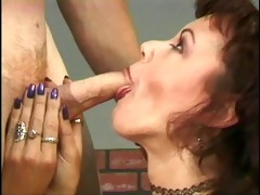 older doxy rubs her pussy on stage for acquires