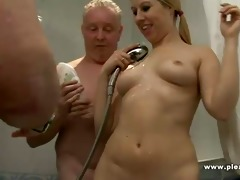 two old chaps shave a youthful vagina