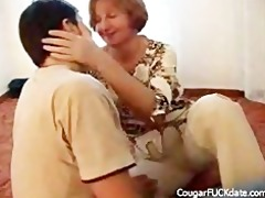 cougar copulates younger dude on the floor