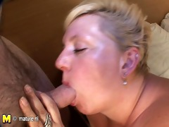 big blond mother engulfing dong and getting cum