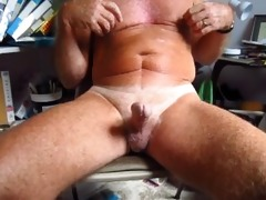 older man handles his 75 year old circumcised cock