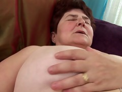 horny granny acquires her hairy pussy moist has